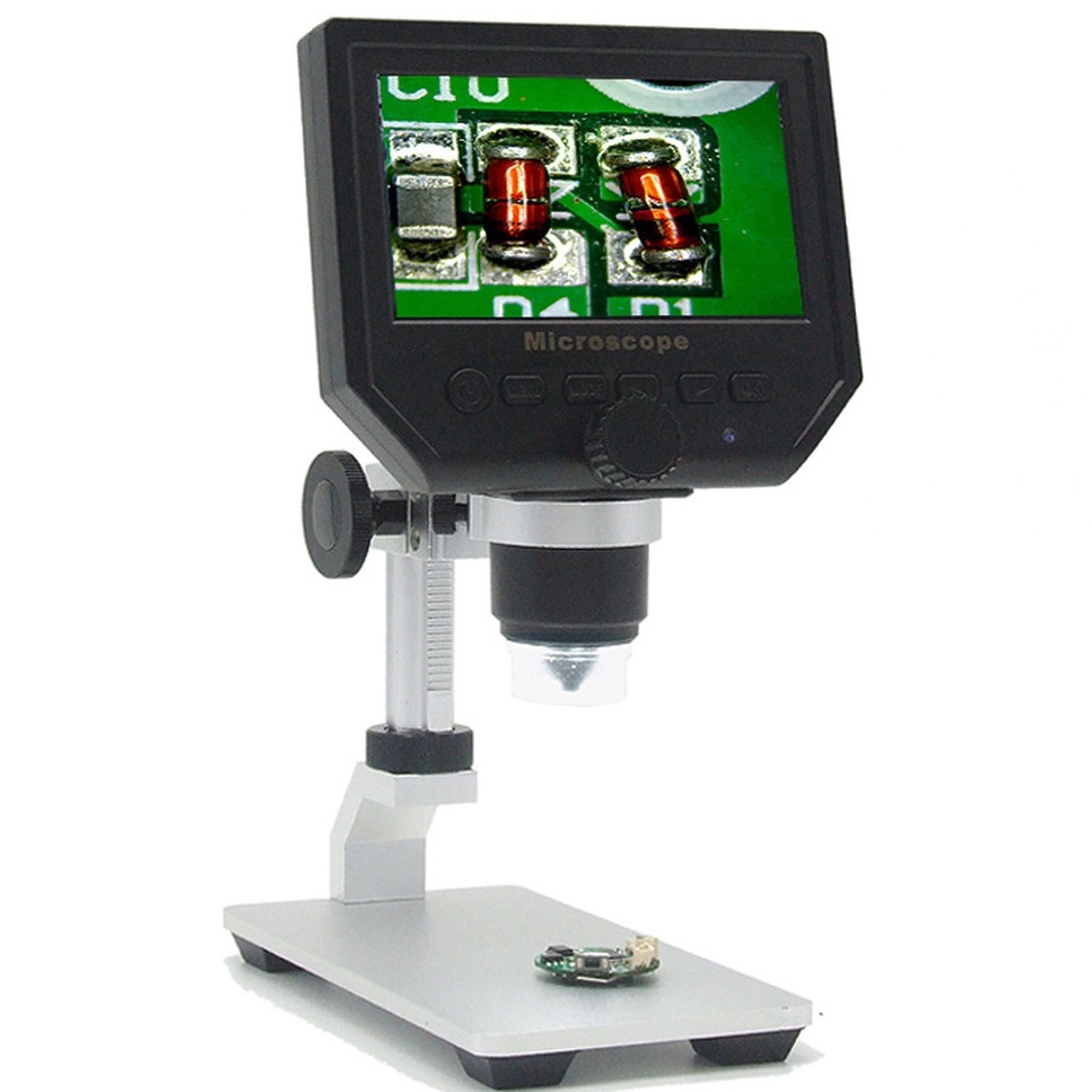 Фото - 3,6MP HD Digital Microscope with 4,3 screen and height adjustable metal stand aiboully 5 million pixel electronic eyepiece with calibration ruler and 30 5mm 23 2mm tube microscope universal aperture