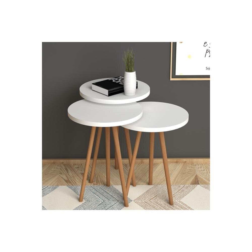 Hecho en Turquía 3 piezas mesas de centro Mini moderno blanco-marrón práctico mesas de té sala de estar Zigon madera Hogar Accesorios