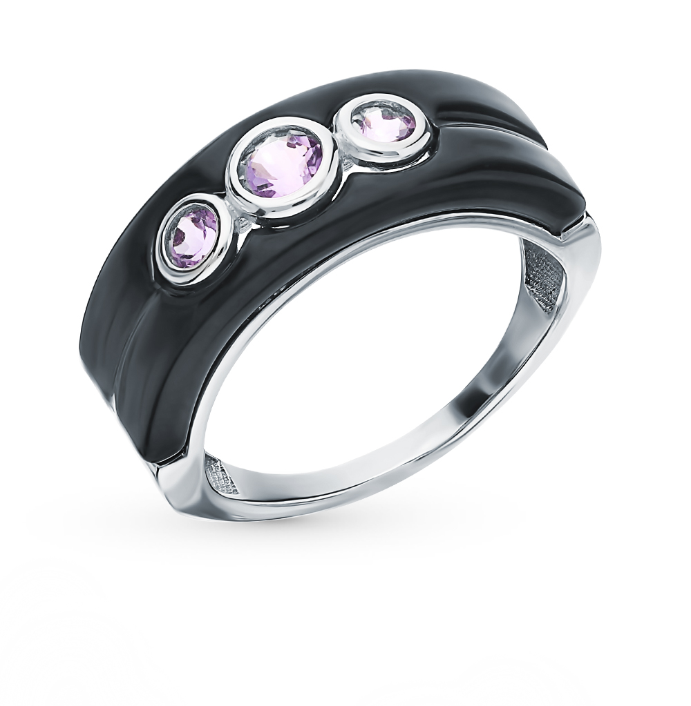Silver Ring With Amethyst Sunlight Sample 925