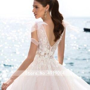 Image 3 - Romantik tül gelinlik Swanskirt Boho boncuklu aplikler A Line mahkemesi tren prenses gelin kıyafeti Vestido de noiva UZ34