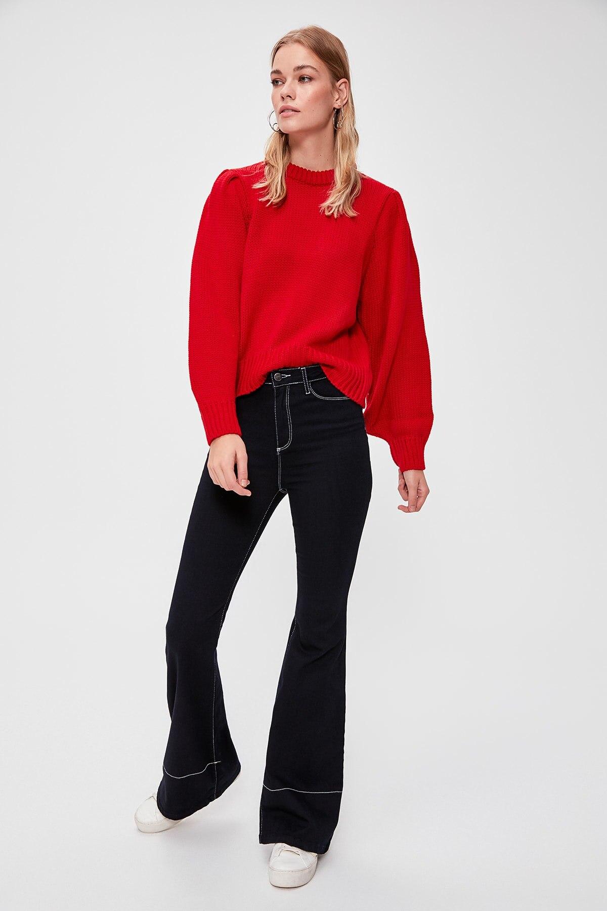 Trendyol WOMEN-Red Handle Piliseli Knitwear Sweater TWOAW20ZA0022
