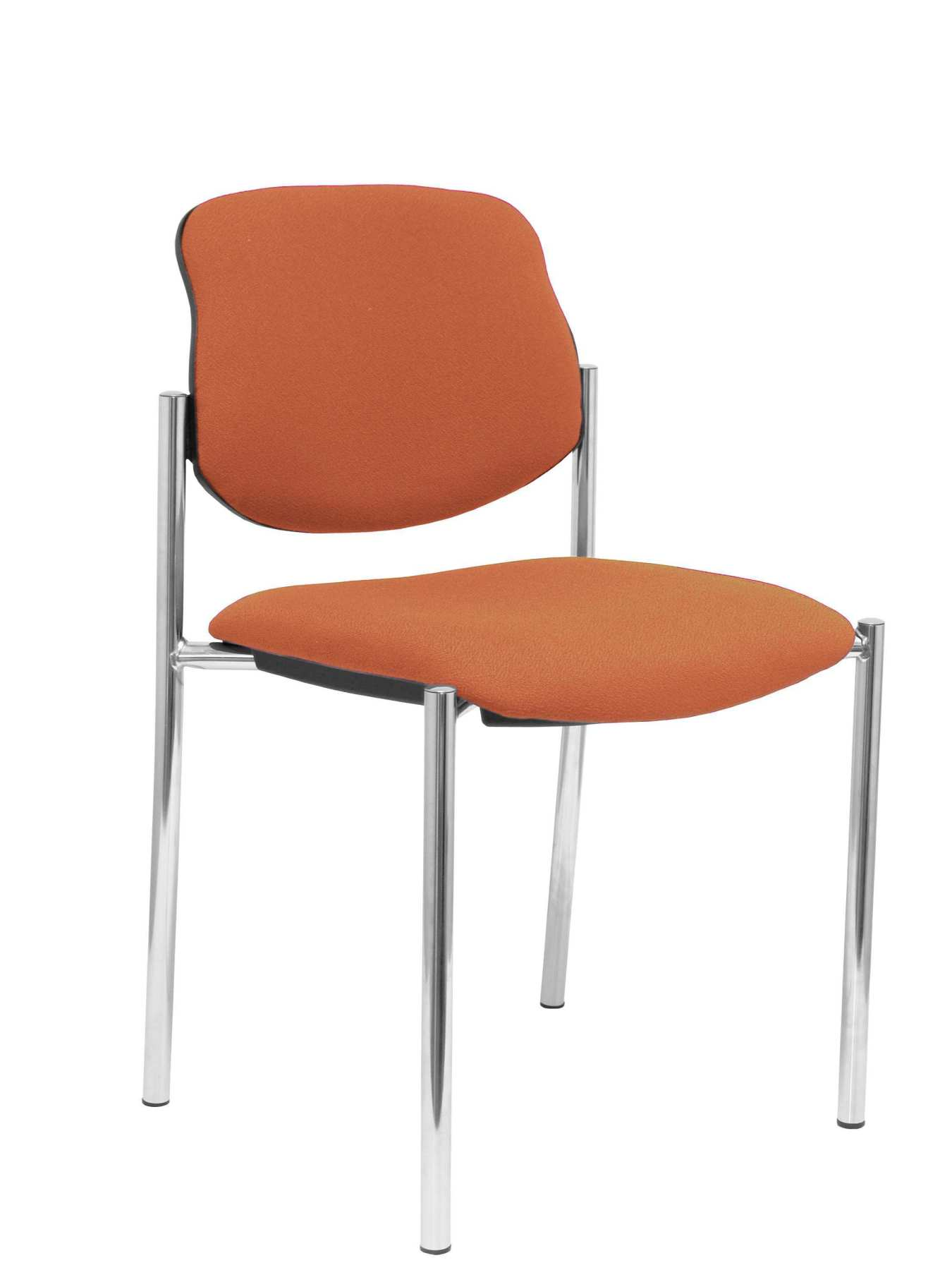 Confident Chair 4-leg And Estructrua Chrome Seat And Back Upholstered In Fabric BALI Brown PIQUERAS And