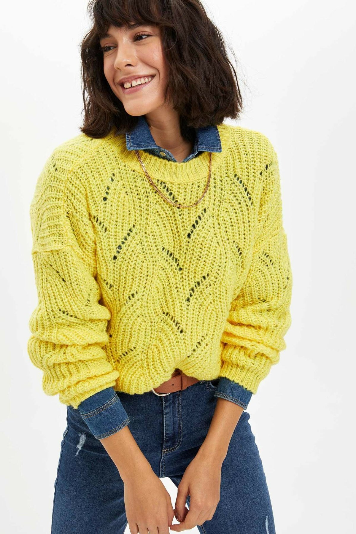 DeFacto Autumn Ladies Fashion O-neck Pullover For Women's Loose Yellow Casual Hollow Knitted Pullovers Female - L9454AZ19WN