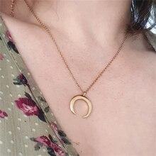 Collier avec pendentif en forme de croissant de lune pour femme et fille, bijou Simple à la mode, cadeau de fête, offre spéciale