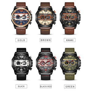 Image 5 - SMAEL Sport Watch Men Waterproof 2019 Top Brand Quartz Men Watch Leather Strap Brown Military Army Wristwatch Male Clock 9074