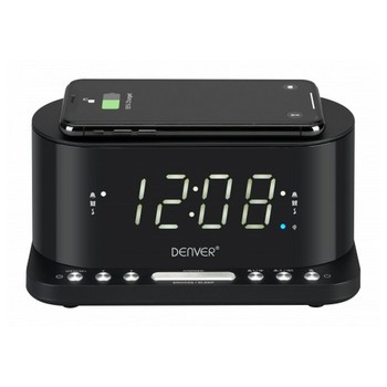 """Clock-Radio with Wireless Charger Denver Electronics CRQ-110 12"""" LED USB Black"""