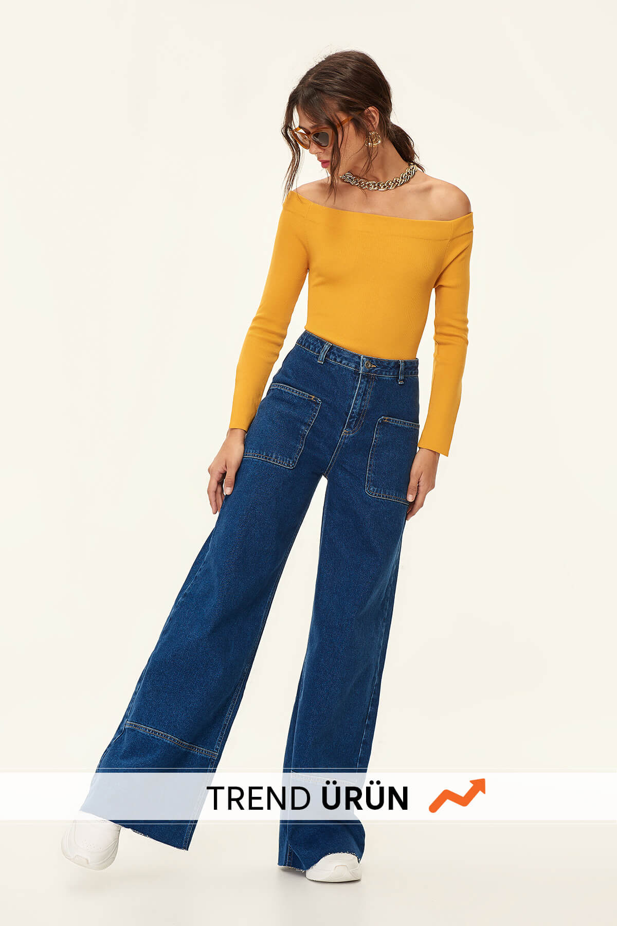 Trendyol High Waist Baggy Flare Wide Leg Jean TCLAW19LR0002