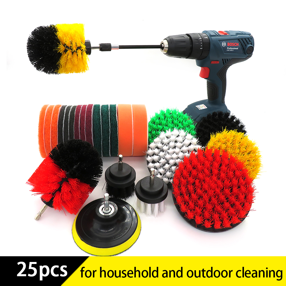 25Pcs Drill brush power Cleaning scrubber nylons Brush attachment Kit with Extender for Bathroom Tub Shower Tile and Car