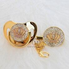 MIYOCAR ゴールド美しいゴールドブリンブリンピンククラウンおしゃぶりおしゃぶりクリップセット bpa フリーダミーユニークなデザイン APCB
