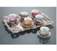 Turkish coffee with silver pattern  colorful cup  eighteen pieces for six personality and a rectangular cup tray|Teaware Sets|Home & Garden -