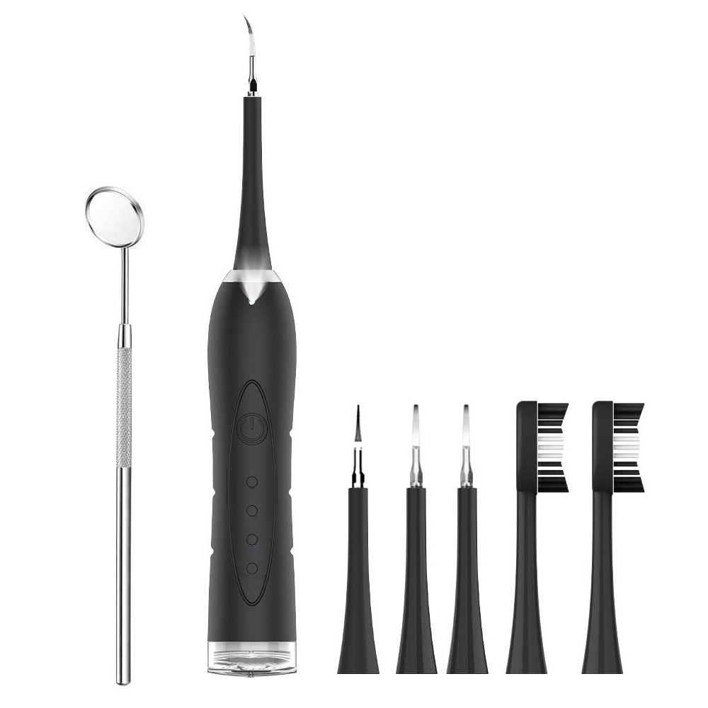 Electric Ultrasonic Dental Scaler Teethbrush Tooth Calculus Remover Cleaner Tooth Stains Tartar Tool with 5 Replaceable Heads