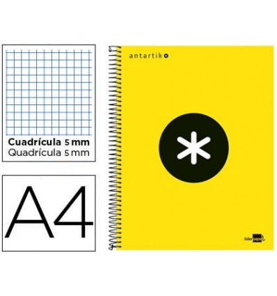 SPIRAL NOTEBOOK LEADERPAPER A4 MICRO ANTARTIK LINED TOP 120H 100 GR CUADRO5MM 5 BANDS 4 HOLES YELLOW FLFL