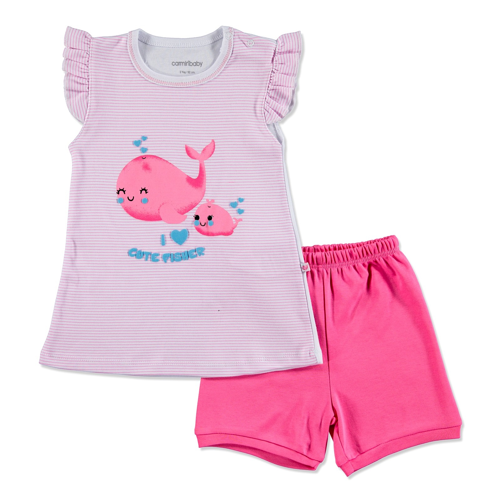 Ebebek Carmin Baby Summer Girl Cute Whale Sleeveless Top Short 2 Pcs Set