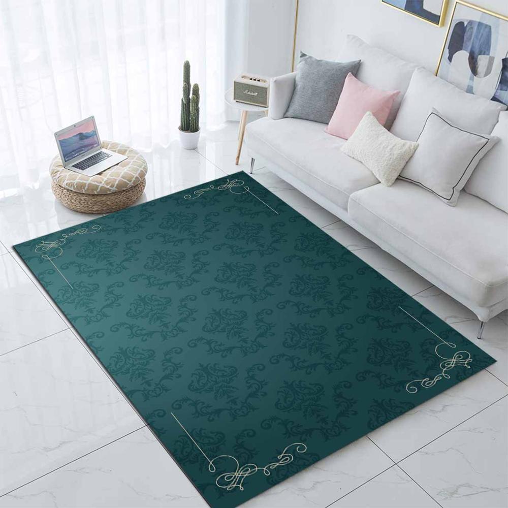 Else Green Damask Vintage Modern Nordec 3d Print Non Slip Microfiber Living Room Decorative Modern Washable Area Rug Mat