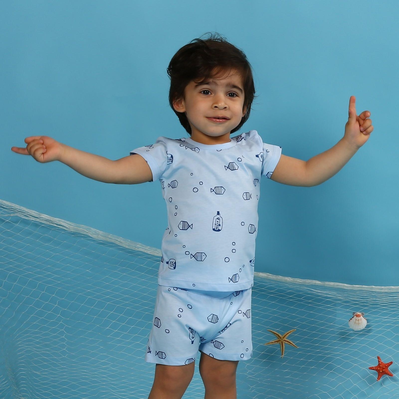 Ebebek HelloBaby Baby Boy Little Fisher Printed Tshirt