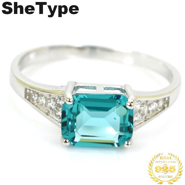 20x7mm 2.8g Ravishing Rich Blue Aquamarine CZ Real 925 Solid Sterling Silver Ring