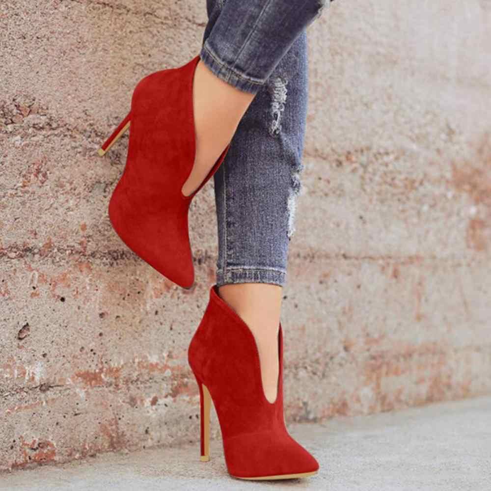 ผู้หญิง FLOCK สูงบางรองเท้าส้นแบนข้อเท้าถักขนสัตว์ WARM รองเท้าสำหรับสุภาพสตรีเหมาะกับฤดูใบไม้ร่วงและ Winter femme รองเท้า