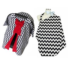 Red Bow Black Striped Stroller Cover and Breast-Feeding Apron Set
