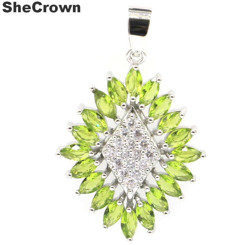 42x27mm Classic Star Shape Created Green Peridot White CZ Gift For Woman's Wedding Silver Pendant