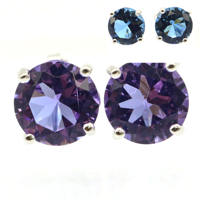 9x9mm Hot Sell SheCrown Created 9x9mm Color Changing Alexandrite & Topaz Real Red Ruby Green Emerald Ladies Silver Earrings
