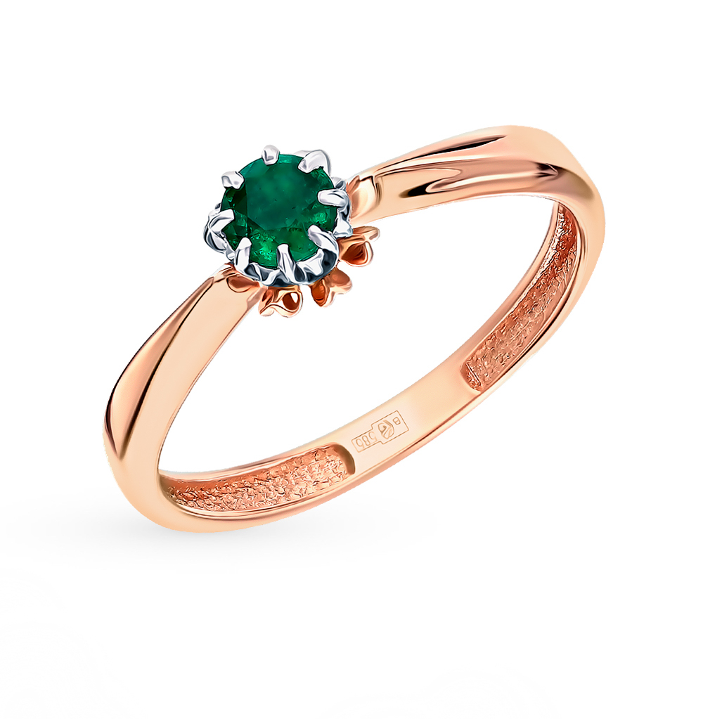 Gold Ring With Emeralds SUNLIGHT Test 585