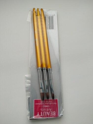 3 Size Nail Art Gold Round Top Painting Brush Set Gel Polish Tips Extending Coating 3D Petal Flower DIY Drawing Shaping Pens Kit reviews №3 161359