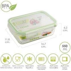 Pojemnik hermetyczny prostokątny kryształ 550 ml. 16.7x11.8x6.2 (alt) cm.|Jednorazowe pojemniki na żywność|Dom i ogród -