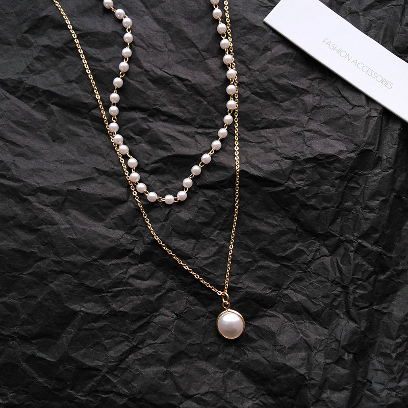 Fashion Chain Pearl Necklace For Women Baroque Pearl Metal Charm Pendants Necklaces Choker Bead Chain Jewelry Gifts 3