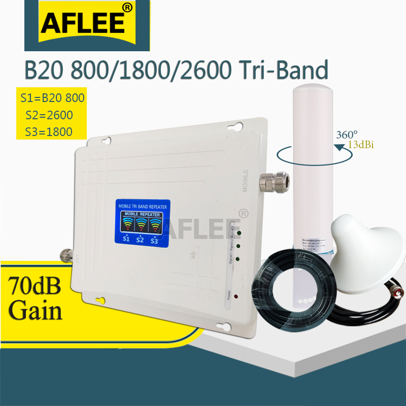 LTE B20 800 1800 2600 Mhz 4G Cell Phone Booster Tri-Band Mobile Signal Amplifier 2G 4G Cellular Repeater LTE DCS 4G Booster Set