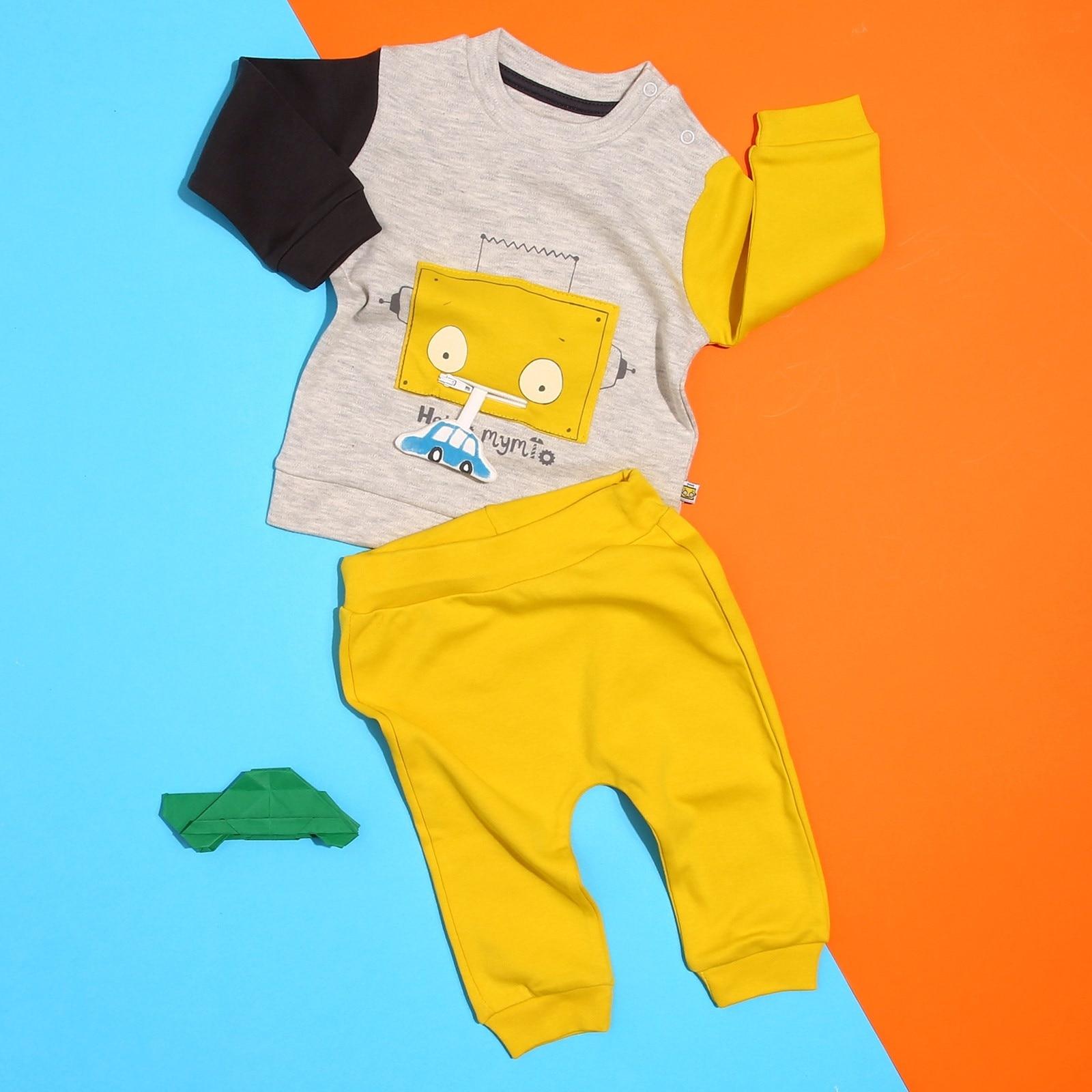 Ebebek Mymio Baby Boy Robot Zippered Car Printed Long Sleeve O-Neck Cotton Patchwork Sweatshirt Trousers Set Toddler Boy Clothes