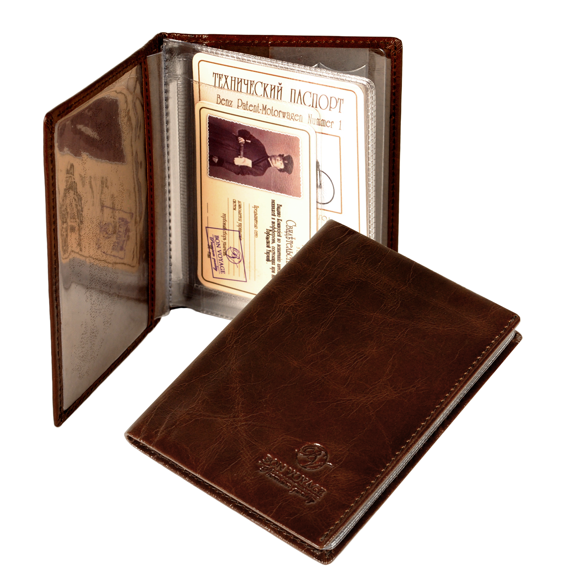 Bon Voyage Unisex Vintage Auto Driver License Cover Holder For Car Driving Documents Made Of Genuine Leather