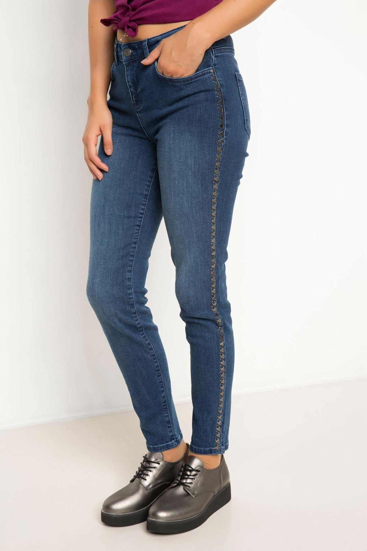 DeFacto Woman Fashion Blue Denim Jeans Women Fit Slim Denim Pants Women Mid-waist Pencil Jeans Bottom Trousers-H8504AZ17AU