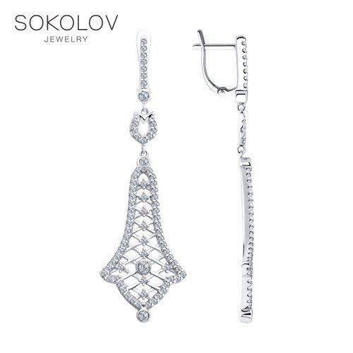 Drop Earrings With Stones With Stones With Stones With Stones With Stones With Stones With Stones With Stones With Stones With Stones With Stones With Stones SOKOLOV From Silver With Cubic Zirkonia Fashion Jewelry 925 Women's/men's, Male/female