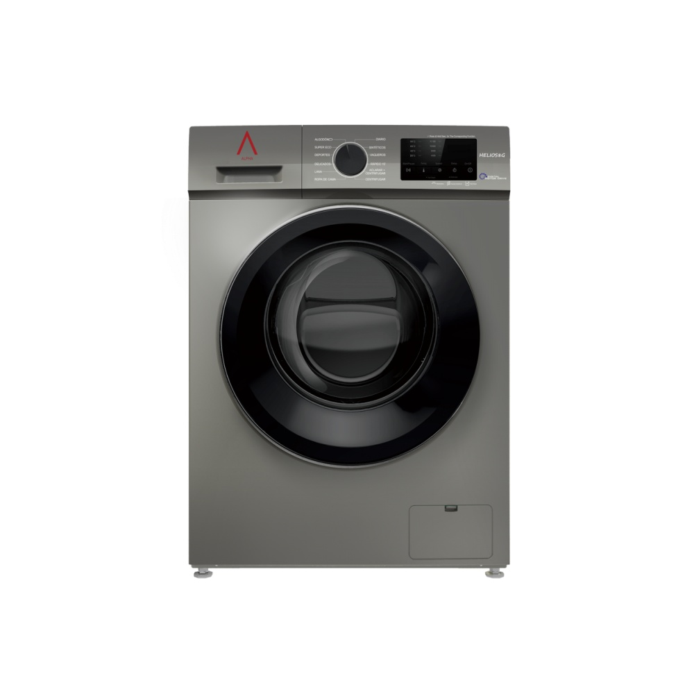 ALPHA Washing Machine HELIOS8G, Gray, 8kg, 1.200rpm, Door XXL, Digital Engine Drive, TO +++, * * High-End **