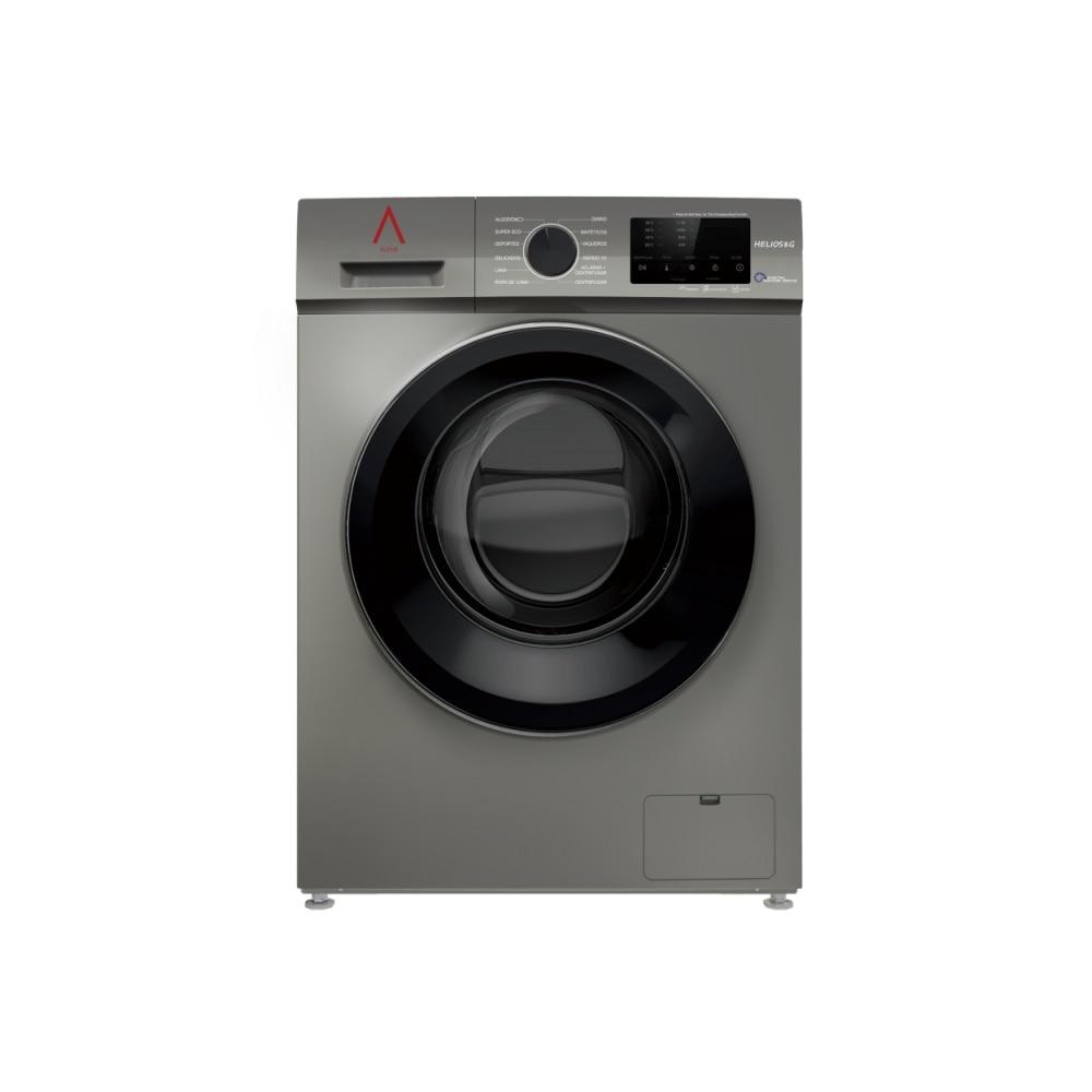 ALPHA Washing Machine HELIOS8G, Gray, 8kg, 1.200rpm, Door XXL, Digital Engine Drive, TO +++, * * High-End **