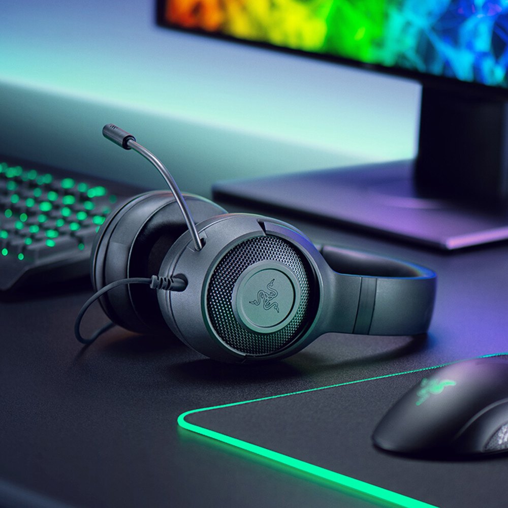 Razer Kraken X Ultralight Headphone Noise Over-Ear wired Gaming Headset Analog 3.5 mm jack 7.1 Surround Sound with Mic, Xbox,PS4 7