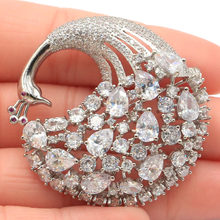43x42mm SheCrown Big Heavy 14g Phoenix Shape Created White Sapphire CZ Woman's Wedding Silver Brooch(China)