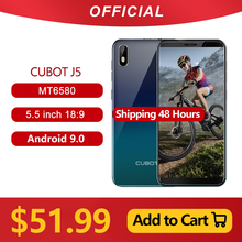 "Cubot J5 Smartphone 5.5 ""18:9 Full Screen MT6580 Quad Core Android 9.0 Telefoon 2Gb Ram 16Gb rom Telefoon Dual Sim kaart 2800Mah 3G"