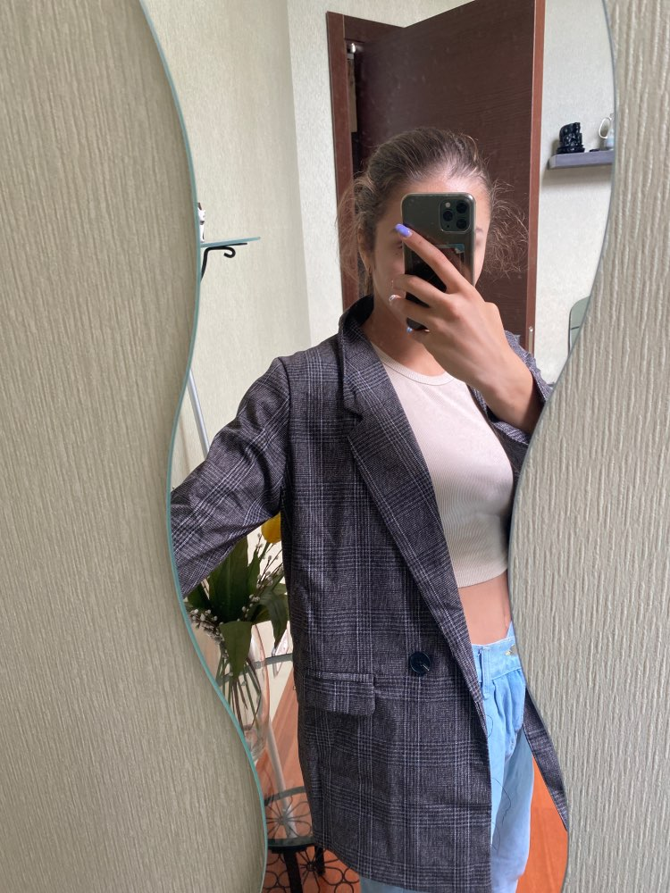 CBAFU autumn spring jacket women suit coats plaid outwear casual turn down collar office wear work runway jackets blazer N785 reviews №2 88675
