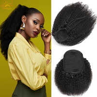 Mogolian Afro Kinky Curly Drawstring Ponytail Extensions Remy 10-28 inch long Clip Ins Yaki Ponytail Human Hair Extension