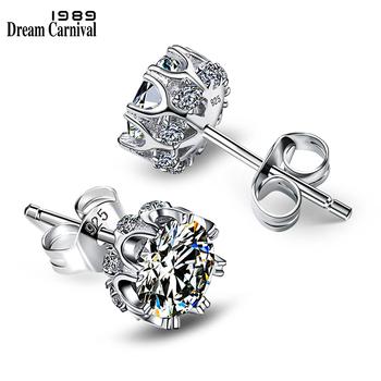 DreamCarnival 1989 popularny styl srebro 925 wysokiej jakości cyrkonia kamień biały luksusowa odzież na co dzień srebrne kolczyki SE10817R tanie i dobre opinie dreamcarnival1989 SILVER Stadniny kolczyki ROUND Kobiety TRENDY Moda Push-powrotem Silver 925 Lead free Nickel free Clear White