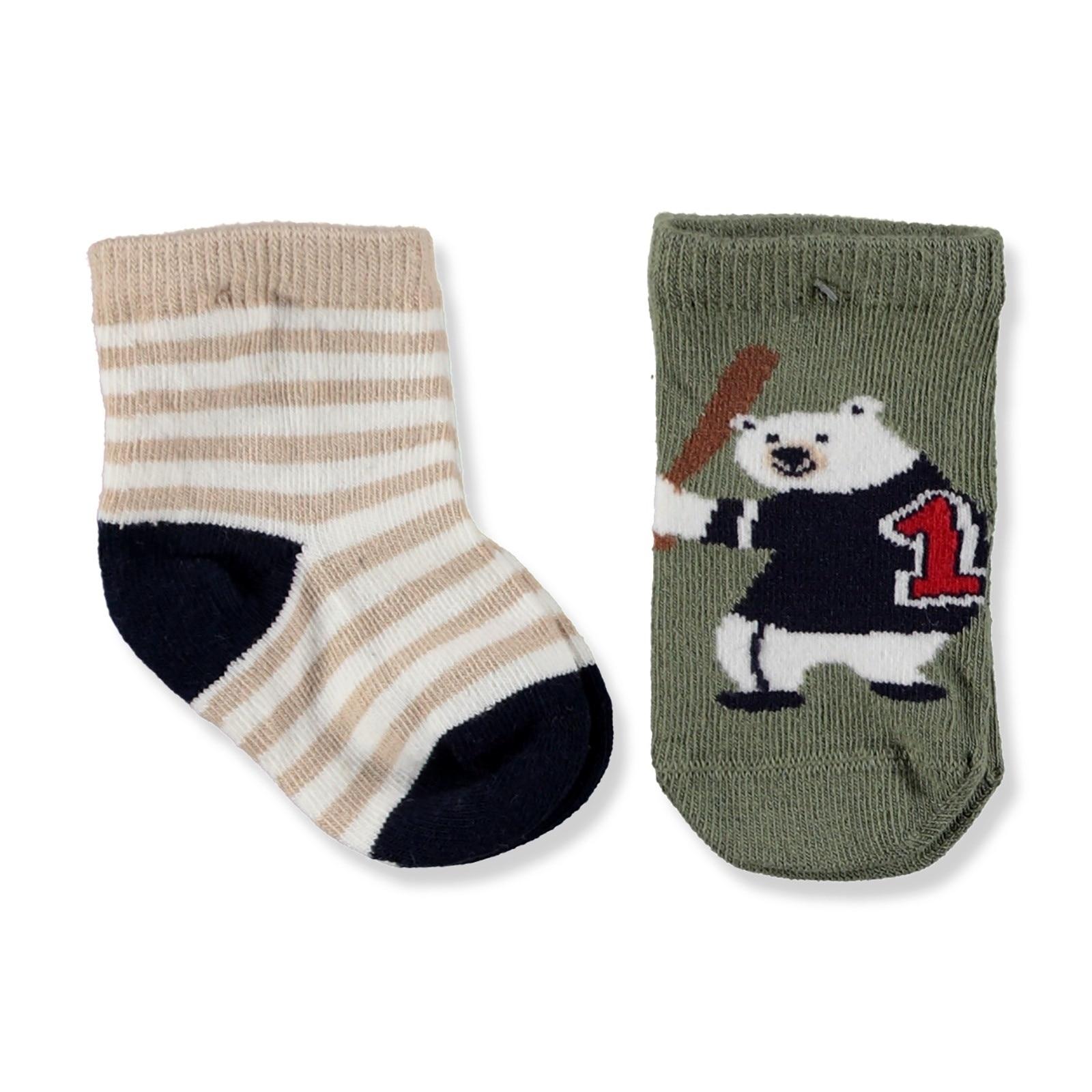 Ebebek Step 2 Pack Baby Socks Baseball Bear
