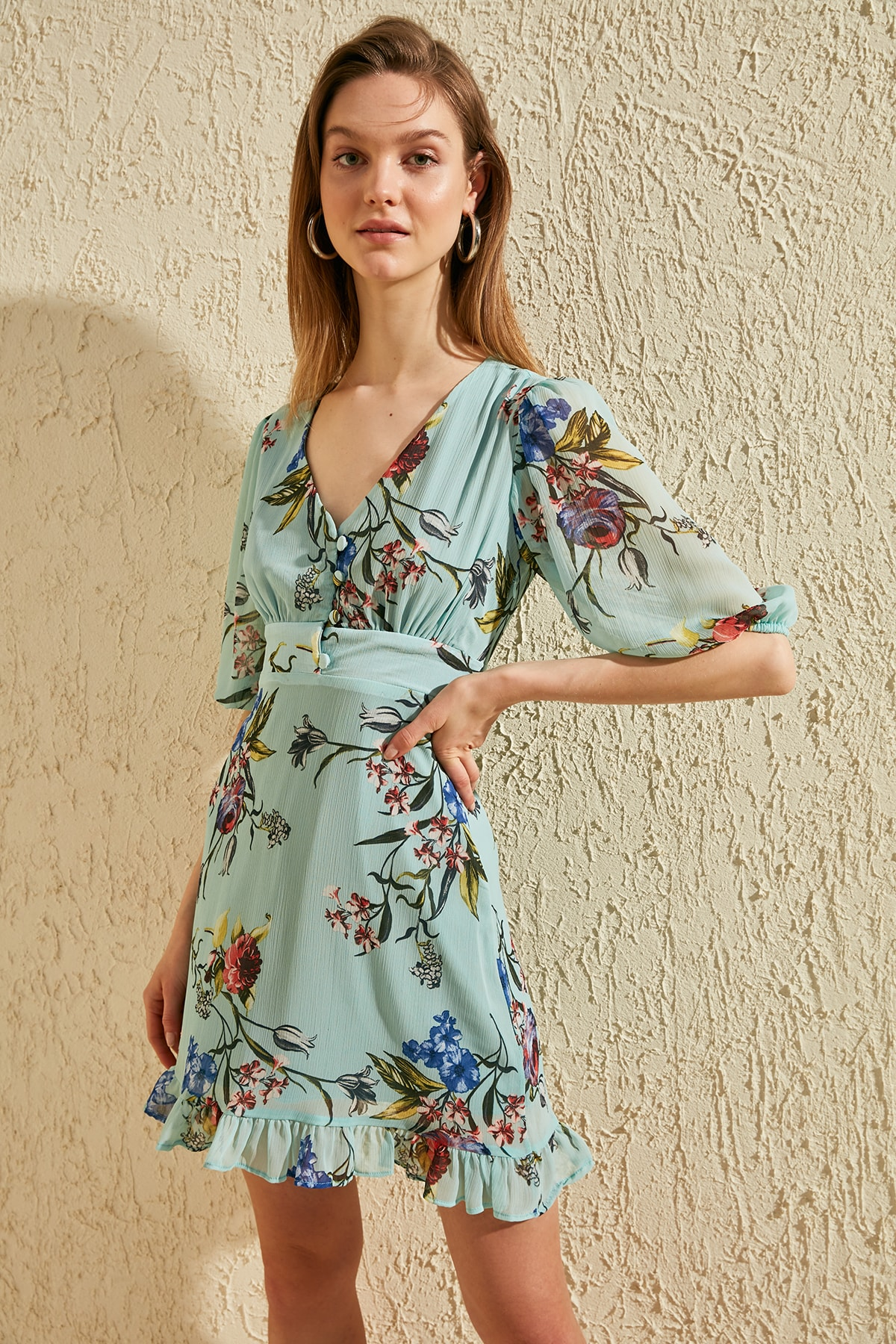 Trendyol Patterned Skirt Flounces Dress TWOSS20EL1320
