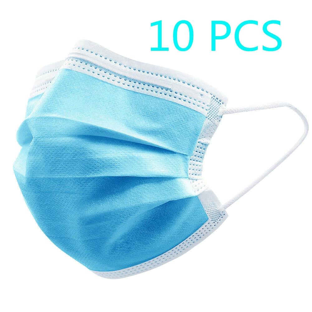 10 PCS Disposable Masks Mouth Mask 3-Ply Anti-Dust Nonwoven Elastic Earloop Salon Mouth Face Masks