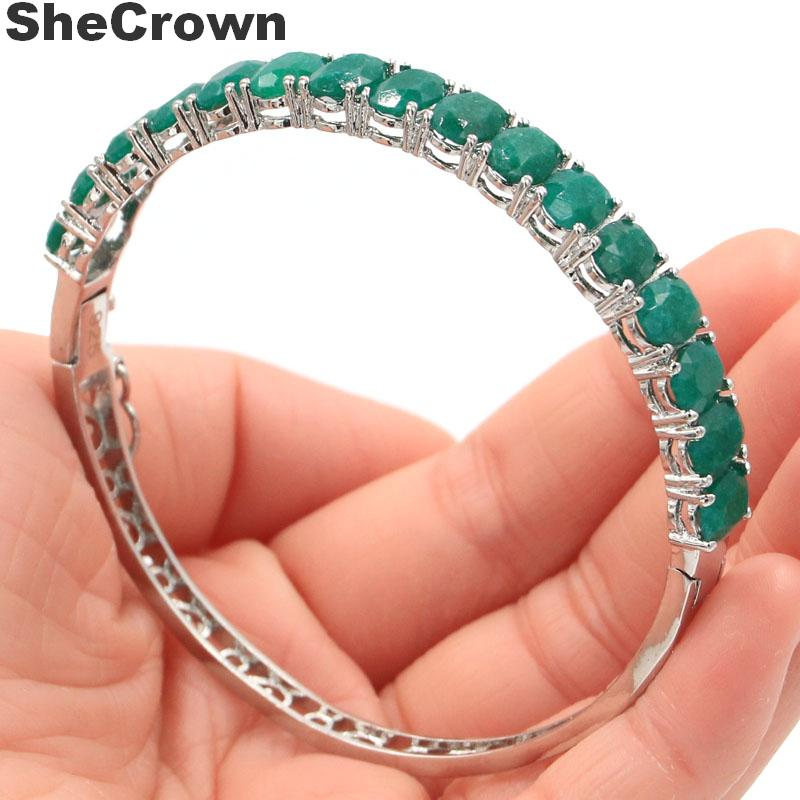 8x6mm Classic Oval Real Green Emerald Gift For Woman's Jewelry Making Silver Bangle Bracelet 7.5 Inch