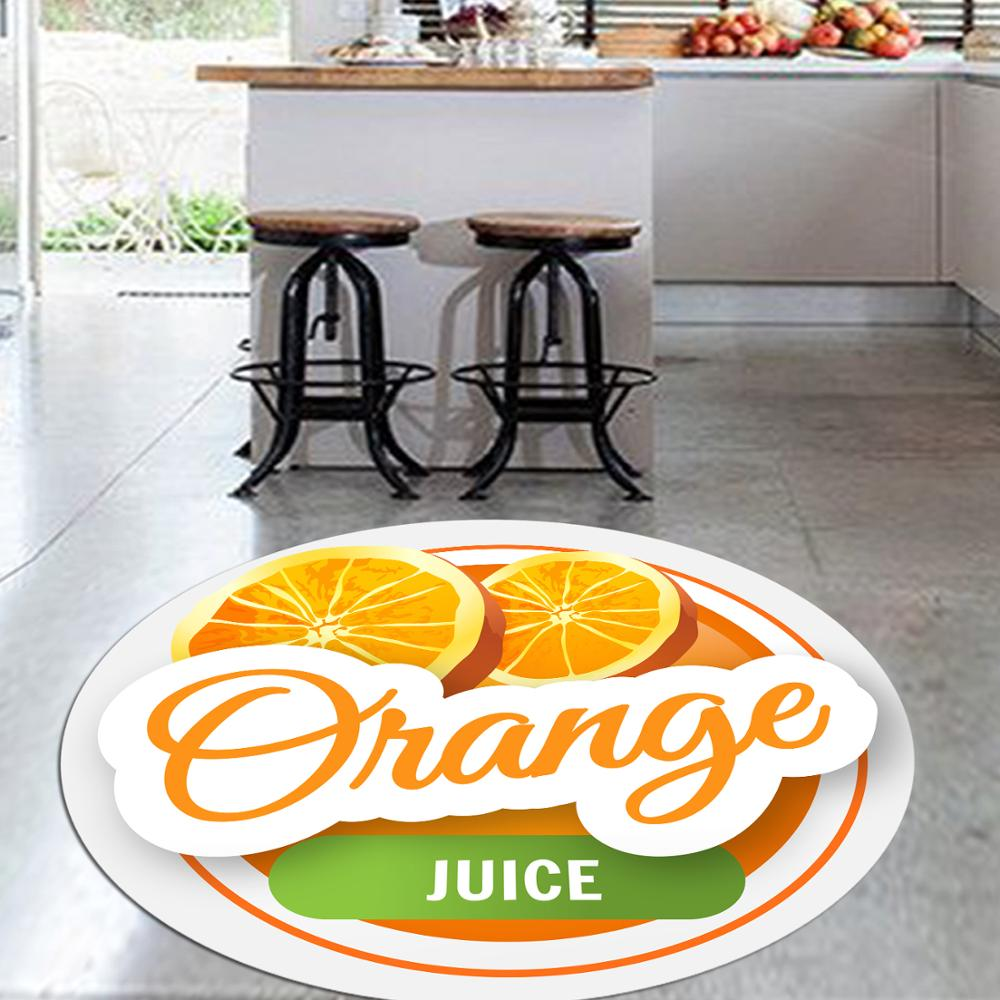 Ev ve Bahçe'ten Halı'de Başka bir dilim portakal taze meyve 3d desen baskı Anti kayma geri yuvarlak mutfak halı alan kilim oturma odası için title=
