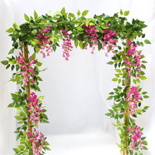 2M Wisteria Artificial Flowers Vine Ivy Plant Fake Tree Garland Long Rattan Hanging Flower Wedding Decor Outdoor Arch Decor garland flowers wedding decoration artificial hydrangea vine party plastic flowers wall decor rattan silk flower wisteria wreath