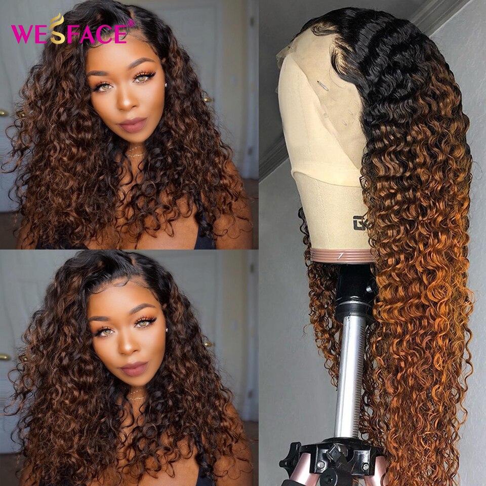 Brown ombre perucas de cabelo humano 13*4 encaracolado laço fron perucas de cabelo humano para preto feminino brasileiro parte do laço perucas bob cabelo remy 150%
