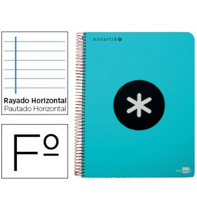 SPIRAL NOTEBOOK LEADERPAPER FOLIO ANTARTIK HARDCOVER 80H 100 GR HORIZONTAL WITH MARGENCOLOR TURQUOISE 3 Units