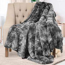 Couverture de luxe à poils longs Super chauds et doux pour canapé/lit/voyage, Patchwork, housse de lit solide